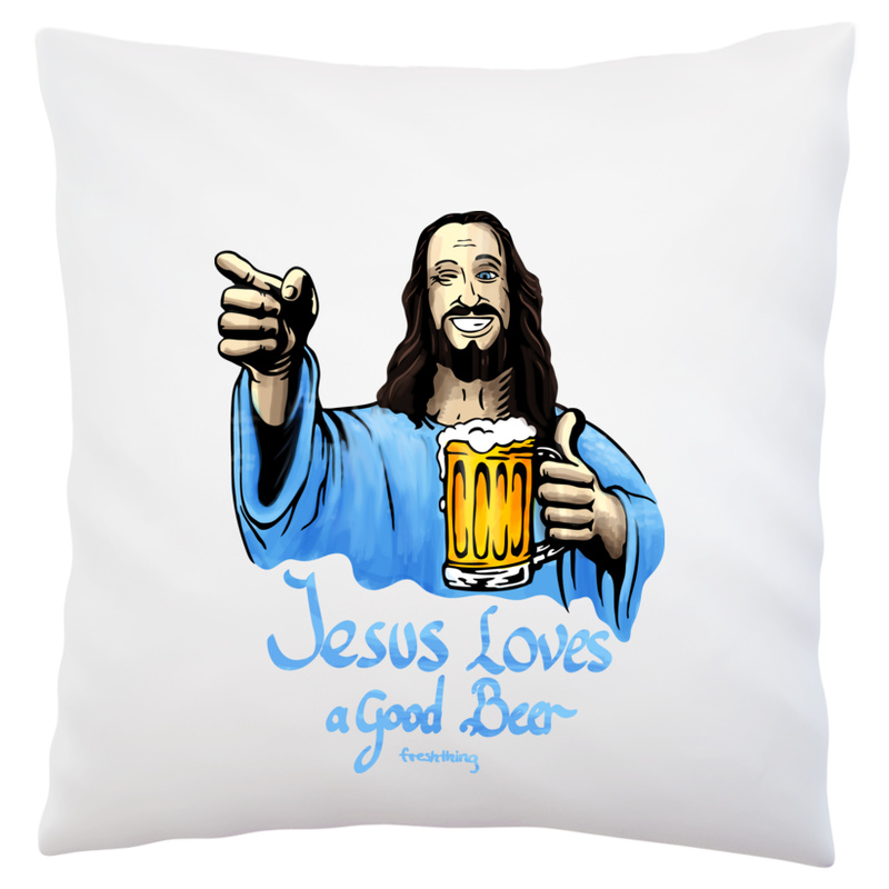 Poduszka Jesus Loves Good Beer