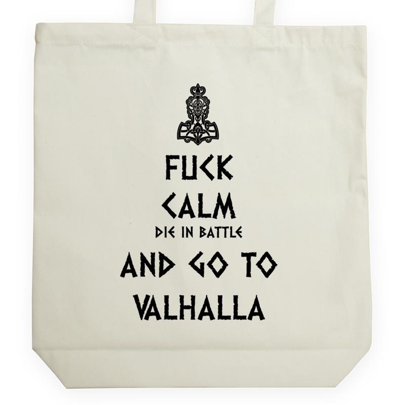 53d26662b1b88 Keep Calm Viking Valhalla - Uniwersalna Torba Na Zakupy Czarna ...