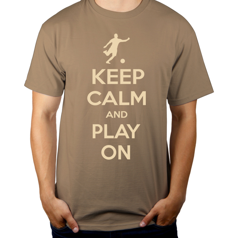 Keep Calm and Play On - Football - Męska Koszulka Jasno Szara