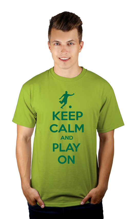 Keep Calm and Play On - Football - Męska Koszulka Jasno Zielona