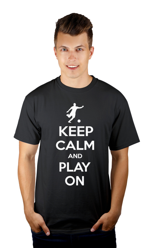 Keep Calm and Play On - Football - Męska Koszulka Szara