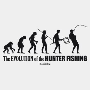 The Evolution Of Hunter Fishing - Męska Koszulka Biała