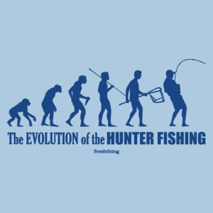 The Evolution Of Hunter Fishing - Męska Koszulka Błękitna