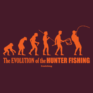 The Evolution Of Hunter Fishing - Męska Koszulka Burgundowa