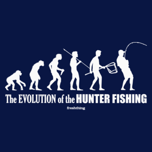 The Evolution Of Hunter Fishing - Męska Koszulka Ciemnogranatowa