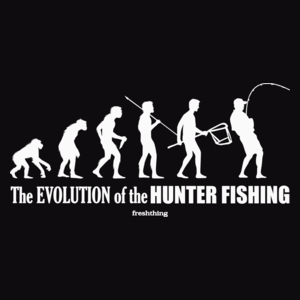 The Evolution Of Hunter Fishing - Męska Koszulka Czarna