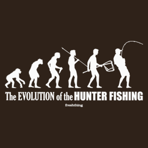 The Evolution Of Hunter Fishing - Męska Koszulka Czekoladowa