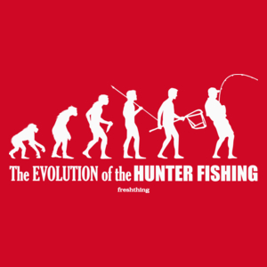 The Evolution Of Hunter Fishing - Męska Koszulka Czerwona