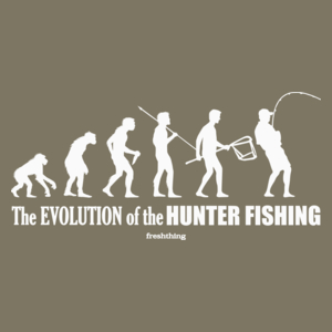The Evolution Of Hunter Fishing - Męska Koszulka Khaki