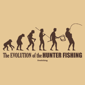 The Evolution Of Hunter Fishing - Męska Koszulka Piaskowa