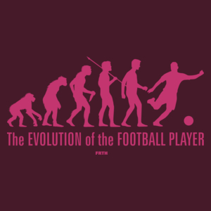 The Evolution Of The Football Player - Męska Koszulka Burgundowa