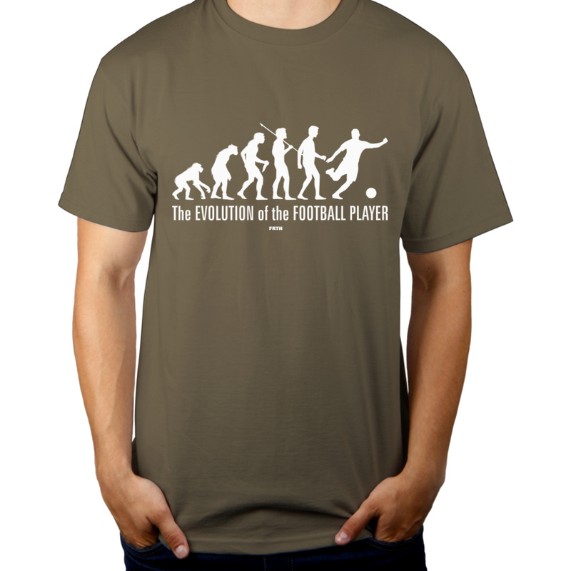 The Evolution Of The Football Player - Męska Koszulka Khaki